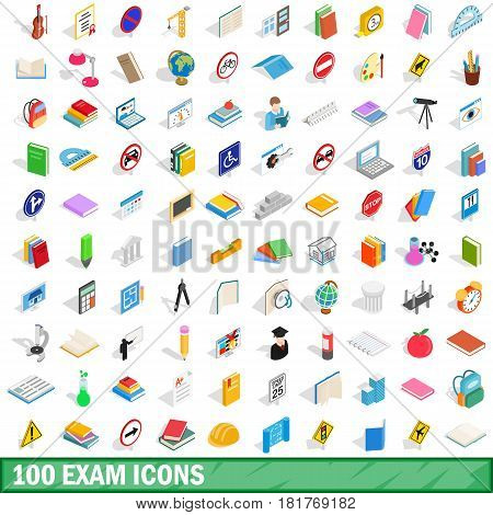 100 exam icons set in isometric 3d style for any design vector illustration