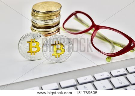 Silver Bitcoin Coin With Pink Glasses