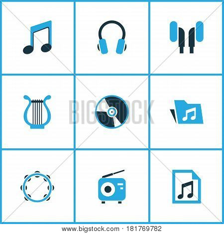Audio Colored Icons Set. Collection Of Radio, Folder, Harp And Other Elements. Also Includes Symbols Such As Playlist, Percussion, Earmuff.