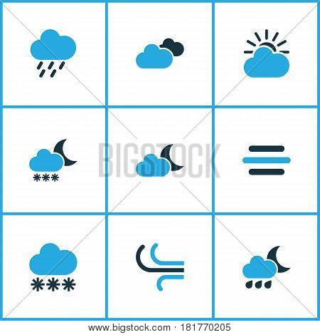 Climate Colored Icons Set. Collection Of Overcast, Wind, Breeze And Other Elements. Also Includes Symbols Such As Night, Gust, Drizzle.