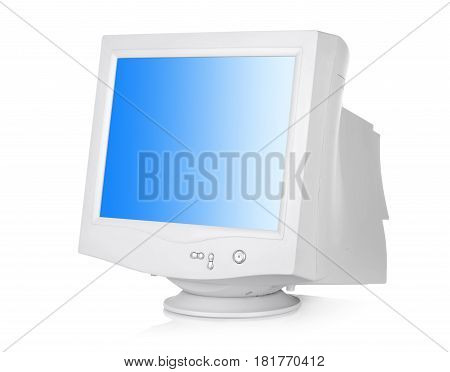 CRT monitor isolated on a white background