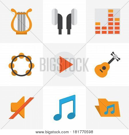 Audio Flat Icons Set. Collection Of Portfolio, Acoustic, Rhythm And Other Elements. Also Includes Symbols Such As Earmuff, Musical, Archive.