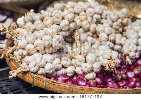 Garlic In The Vietnamese Market. Asian Food Concept