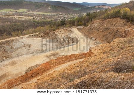 Way in stone quarry. View of stone quarrying in the Czech Republic