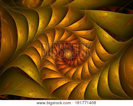 An abstract computer generated modern fractal design on dark background. Abstract fractal color texture. Digital art. Abstract Form & Colors. Abstract fractal element pattern for your design. Gold scale-shaped spiral 3d form