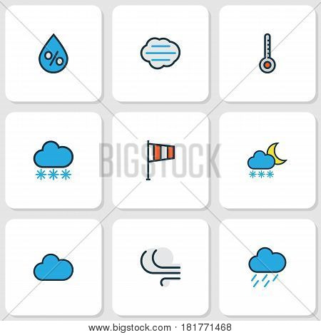 Meteorology Colored Outlines Set. Collection Of Hazy, Flag, Windy And Other Elements. Also Includes Symbols Such As Overcast, Breeze, Flag.