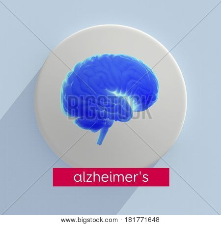 Brain infographic. Alzheimer's disease.This is a 3d illustration