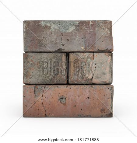 View Of Brickwork Isolated 3D Rendering