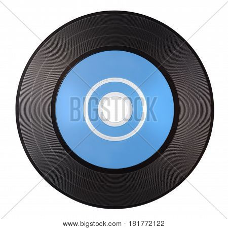 Old vinyl record with blue blank label isolated on white background