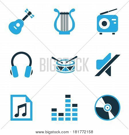 Multimedia Colored Icons Set. Collection Of Headset, Drum, Guitar And Other Elements. Also Includes Symbols Such As Volume, Note, Guitar.