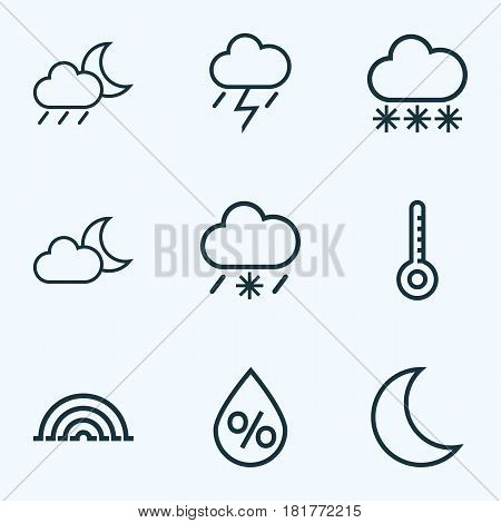Climate Outlines Set. Collection Of Night, Rainstorm, Drop And Other Elements. Also Includes Symbols Such As Moonlight, Storm, Snowy.