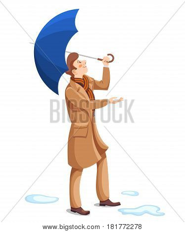 Happy man with umbrella and enjoy the weather. Vector cartoon character in business cloak.