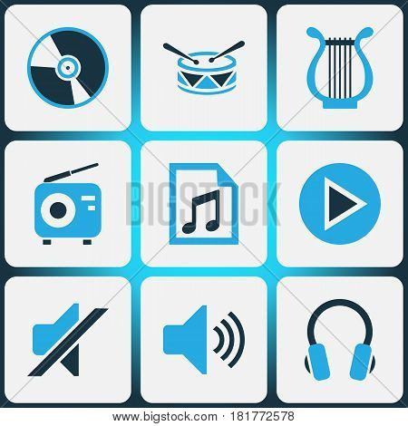 Music Colored Icons Set. Collection Of Mute, Play, Playlist And Other Elements. Also Includes Symbols Such As Volume, Note, Cd.