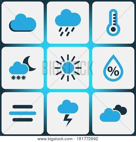 Nature Colored Icons Set. Collection Of Humidity, Lightning, Rainstorm And Other Elements. Also Includes Symbols Such As Snowfall, Percent, Humidity.