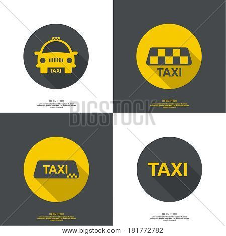 Taxi sign. The machine cab for quick transport of passengers. minimal. flat design. button for web and mobile applications.