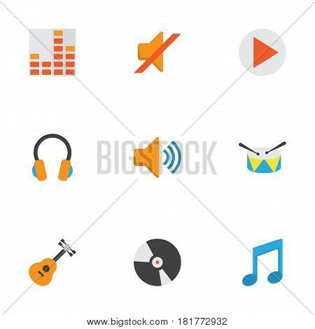 Multimedia Flat Icons Set. Collection Of Controlling, Band, Quiet Elements. Also Includes Symbols Such As Earpiece, Audio, Begin.