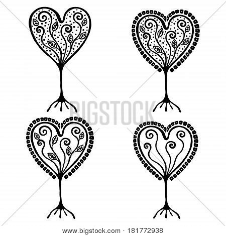 Vector set of hand drawn illustration, decorative ornamental stylized tree. Black and white graphic illustration isolated on the white background. Inc drawing silhouette. Decorative artistic ornamental wood
