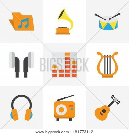 Multimedia Flat Icons Set. Collection Of Sonata, Earpiece, Portfolio And Other Elements. Also Includes Symbols Such As Percussion, Harp, Musical.