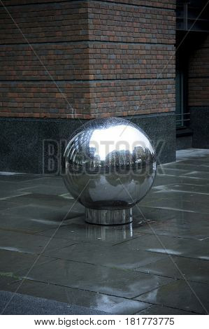 sphere under the rain in london in england