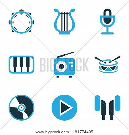 Audio Colored Icons Set. Collection Of Headphone, Piano, Play And Other Elements. Also Includes Symbols Such As Tambourine, Barrel, Cd.