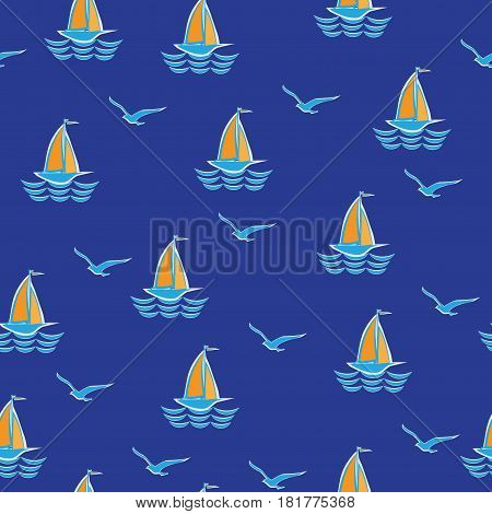 Sea, sailboat and seagulls. Seamless pattern. Stylized sailboat on the waves. Design for textiles, tapestries, paper packaging products for children.