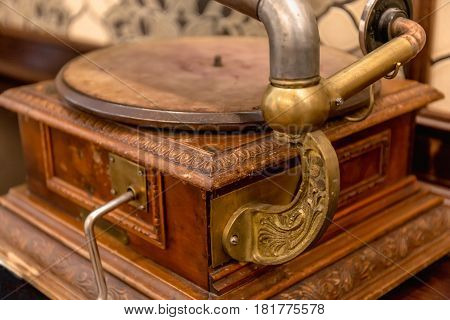 Vintage phonograph or talking machine of 1910, close up image