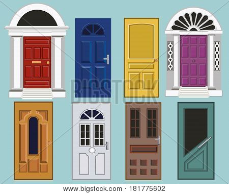 Set of detailed colorful front doors to private houses. Closed elegant doors isolated. Flat style vector illustration.
