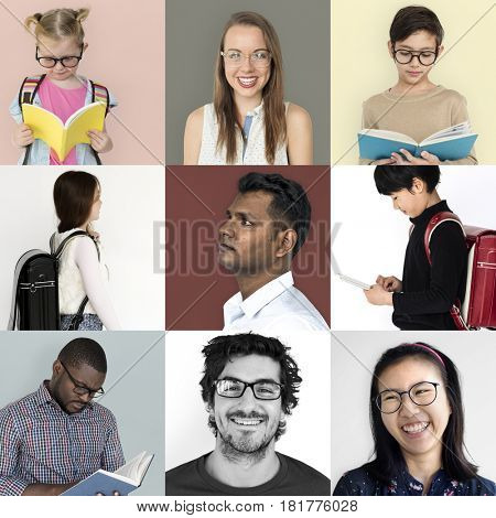 Collection of students studying with textbook