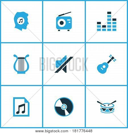 Music Colored Icons Set. Collection Of Playlist, Guitar, Drum And Other Elements. Also Includes Symbols Such As Note, Tuner, Fm.