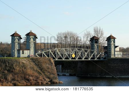 Historic Lift Bridge from 1894 in the commercial port of Magdeburg