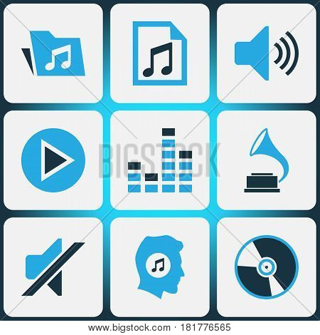 Music Colored Icons Set. Collection Of Play, Playlist, Volume And Other Elements. Also Includes Symbols Such As Silent, Controlling, Music.