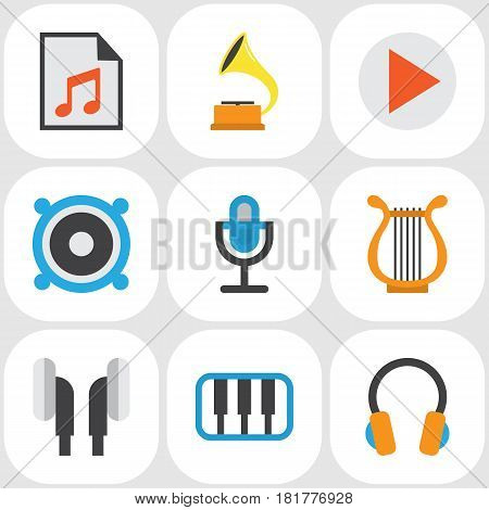 Music Flat Icons Set. Collection Of Media, Loudspeaker, Sonata And Other Elements. Also Includes Symbols Such As Earpiece, Megaphone, Media.