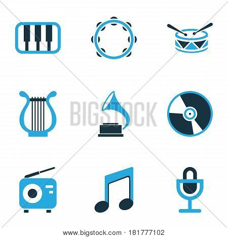 Audio Colored Icons Set. Collection Of Note, Vinyl, Harp And Other Elements. Also Includes Symbols Such As Tuner, Vinyl, Music.