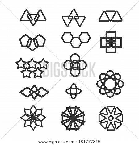 black and white style elements of design works - vector illustration