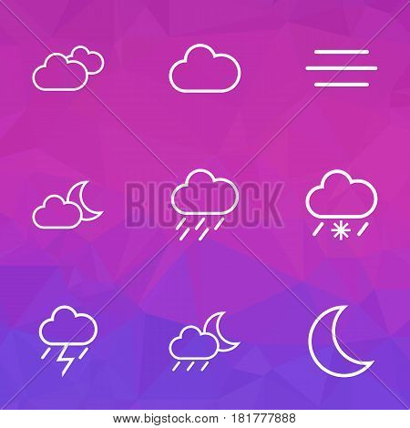 Climate Outlines Set. Collection Of Snowy Raining, Overcast, Rainstorm And Other Elements. Also Includes Symbols Such As Rainfall, Drizzle, Night.
