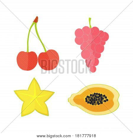 Four Flat Vector Fruits with Texture in Oblique White Lines. Vector Illustration of a Grape, Papaya, Carambole and  Cherry. Vector EPS 10