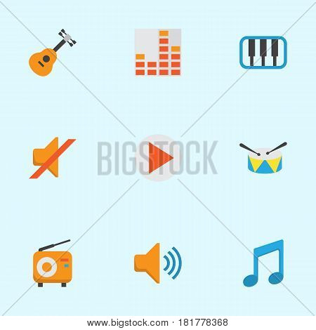 Music Flat Icons Set. Collection Of Audio, Controlling, Quiet And Other Elements. Also Includes Symbols Such As Controlling, Band, Radio.