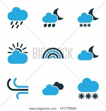Nature Colored Icons Set. Collection Of Wind, Arc, Overcast And Other Elements. Also Includes Symbols Such As Sun, Snowfall, Cloudy.