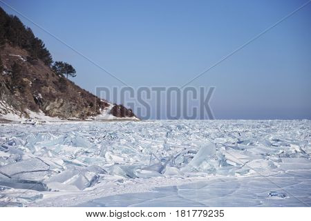 Winter Landscape. Ice-drift Of Baikal Lake