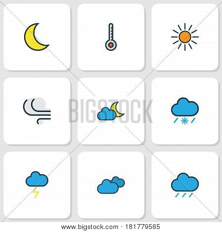 Weather Colored Outlines Set. Collection Of Windy, Twilight, Moonbeam And Other Elements. Also Includes Symbols Such As Overcast, Thunderstroke, Breeze. poster