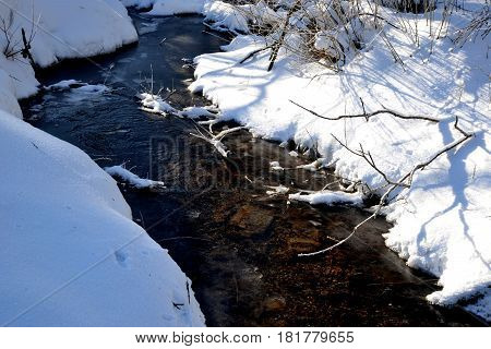 Winter mountain stream flowing among snow-covered shores