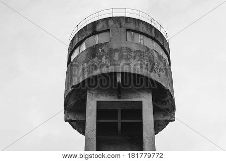 Old soviet water tower blue color in City