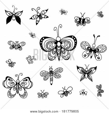 Set of vector butterflies of different styles.