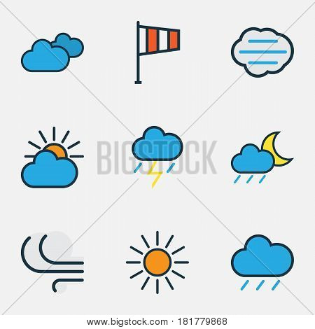 Meteorology Colored Outlines Set. Collection Of Thunderstroke, Tempest, Sunshine And Other Elements. Also Includes Symbols Such As Tempest, Raindrop, Hail.