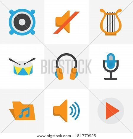 Music Flat Icons Set. Collection Of Band, Portfolio, Karaoke Elements. Also Includes Symbols Such As Music, Bullhorn, Band.