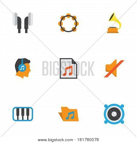 Audio Flat Icons Set. Collection Of Pianoforte, Portfolio, Quiet And Other Elements. Also Includes Symbols Such As List, Quiet, Headphone.