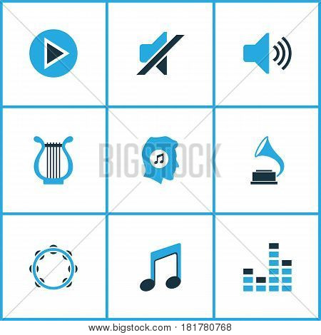 Audio Colored Icons Set. Collection Of Gramophone, Tambourine, Play And Other Elements. Also Includes Symbols Such As Meloman, Equalizer, Music.