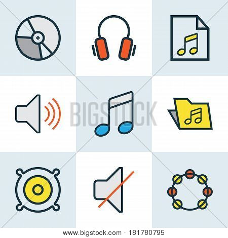 Music Colored Outlines Set. Collection Of List, Circle, Sound And Other Elements. Also Includes Symbols Such As Gadget, Soundtrack, Tambourine.