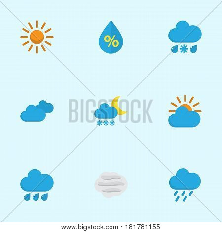 Nature Flat Icons Set. Collection Of Sun, Drizzles, Drop And Other Elements. Also Includes Symbols Such As Drip, Rainy, Sun.