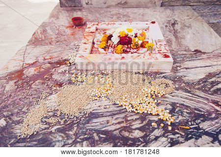 Offerings in Jagdish Temple Udaipur city, India